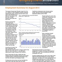 142,000 Positions Filled Over the Month: August 2014 Employment Summary